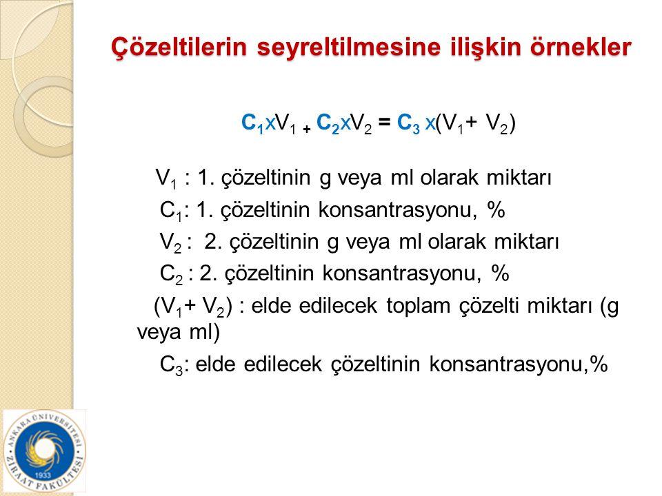 Çözeltilerin seyreltilmesine ilişkin örnekler C 1 xV 1 + C 2 xV 2 = C 3 x(V 1 + V 2 ) V 1 : 1. çözeltinin g veya ml olarak miktarı C 1 : 1. çözeltinin