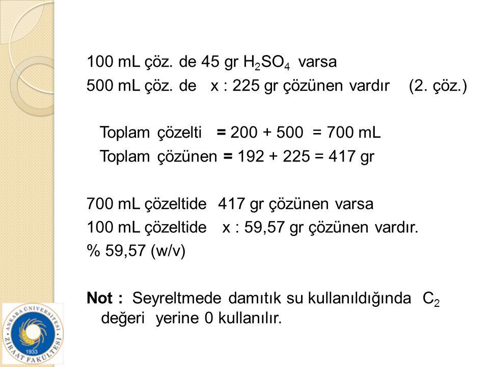 100 mL çöz. de 45 gr H 2 SO 4 varsa 500 mL çöz. de x : 225 gr çözünen vardır (2. çöz.) Toplam çözelti = 200 + 500 = 700 mL Toplam çözünen = 192 + 225