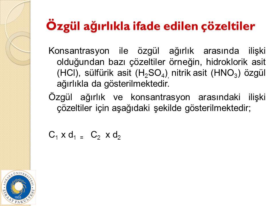 Özgül a ğ ırlıkla ifade edilen çözeltiler Konsantrasyon ile özgül ağırlık arasında ilişki olduğundan bazı çözeltiler örneğin, hidroklorik asit (HCl),