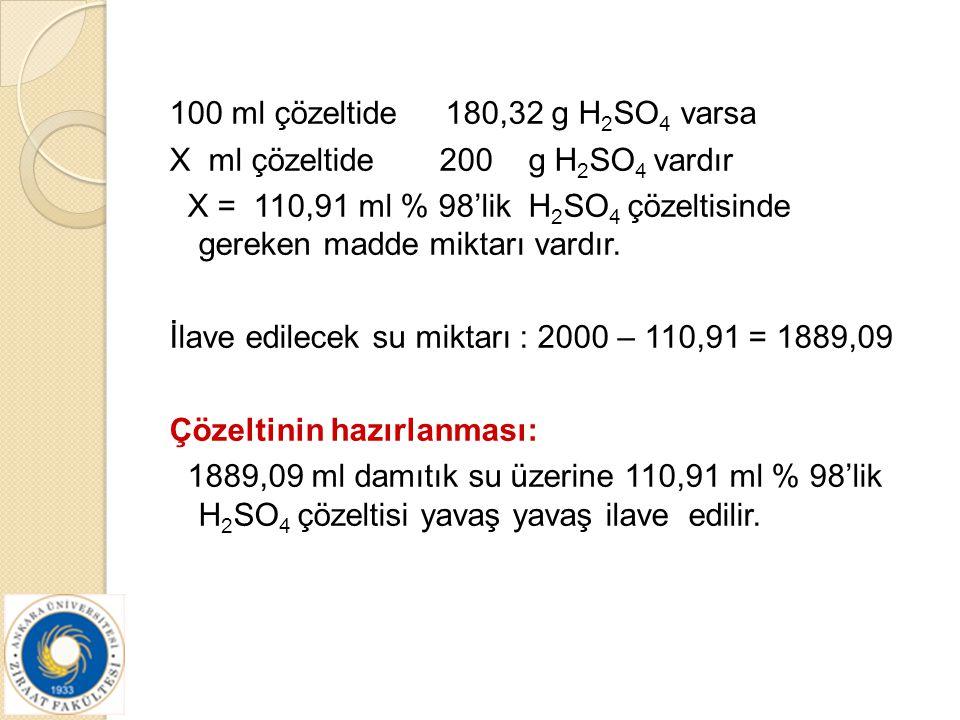 100 ml çözeltide 180,32 g H 2 SO 4 varsa X ml çözeltide 200 g H 2 SO 4 vardır X = 110,91 ml % 98'lik H 2 SO 4 çözeltisinde gereken madde miktarı vardı