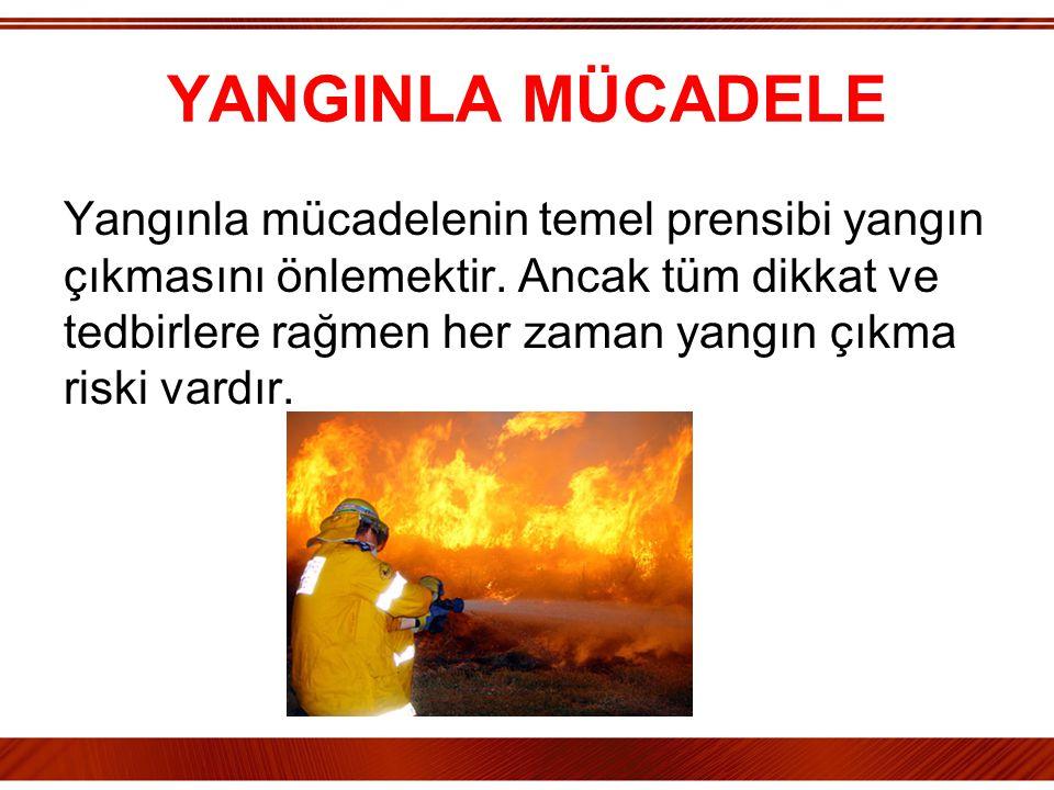 YANGINLA MÜCADELE Yangınla mücadelenin temel prensibi yangın çıkmasını önlemektir. Ancak tüm dikkat ve tedbirlere rağmen her zaman yangın çıkma riski