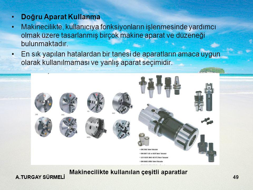A.TURGAY SÜRMELİ 49 Doğru Aparat Kullanma Makinecilikte, kullanıcıya fonksiyonların işlenmesinde yardımcı olmak üzere tasarlanmış birçok makine aparat ve düzeneği bulunmaktadır.