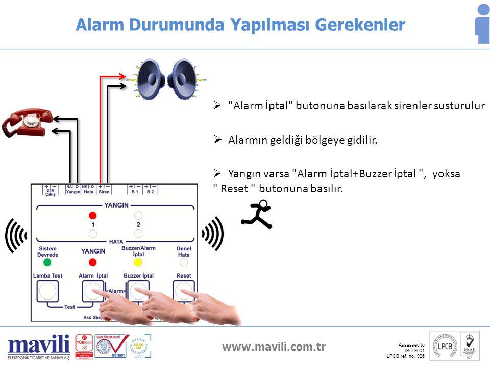 www.mavili.com.tr Assessed to ISO 9001 LPCB ref. no. 926 Alarm Durumunda Yapılması Gerekenler  Yangın varsa