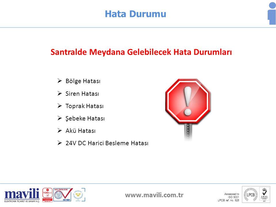 www.mavili.com.tr Assessed to ISO 9001 LPCB ref. no. 926 Hata Durumu Santralde Meydana Gelebilecek Hata Durumları  Bölge Hatası  Siren Hatası  Topr