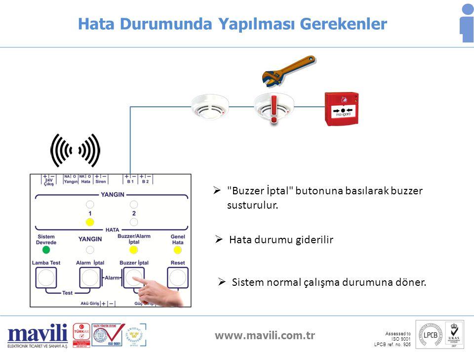 www.mavili.com.tr Assessed to ISO 9001 LPCB ref. no. 926 Hata Durumunda Yapılması Gerekenler 