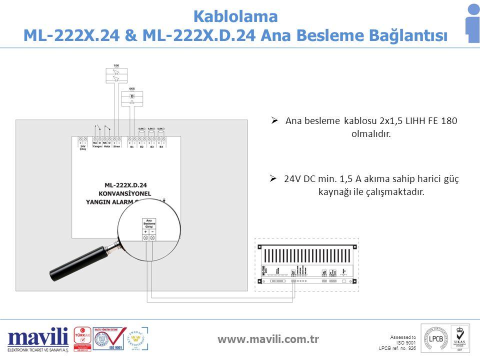 www.mavili.com.tr Assessed to ISO 9001 LPCB ref. no. 926 Kablolama ML-222X.24 & ML-222X.D.24 Ana Besleme Bağlantısı  24V DC min. 1,5 A akıma sahip ha
