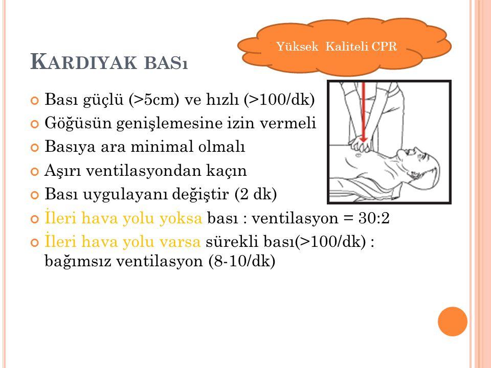 K ARDIYAK BASı Bası güçlü (>5cm) ve hızlı (>100/dk) Göğüsün genişlemesine izin vermeli Basıya ara minimal olmalı Aşırı ventilasyondan kaçın Bası uygul