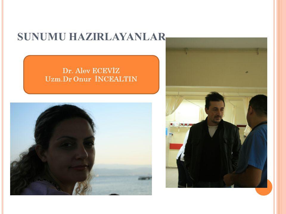 SUNUMU HAZIRLAYANLAR Dr. Alev ECEVİZ Uzm.Dr Onur İNCEALTIN