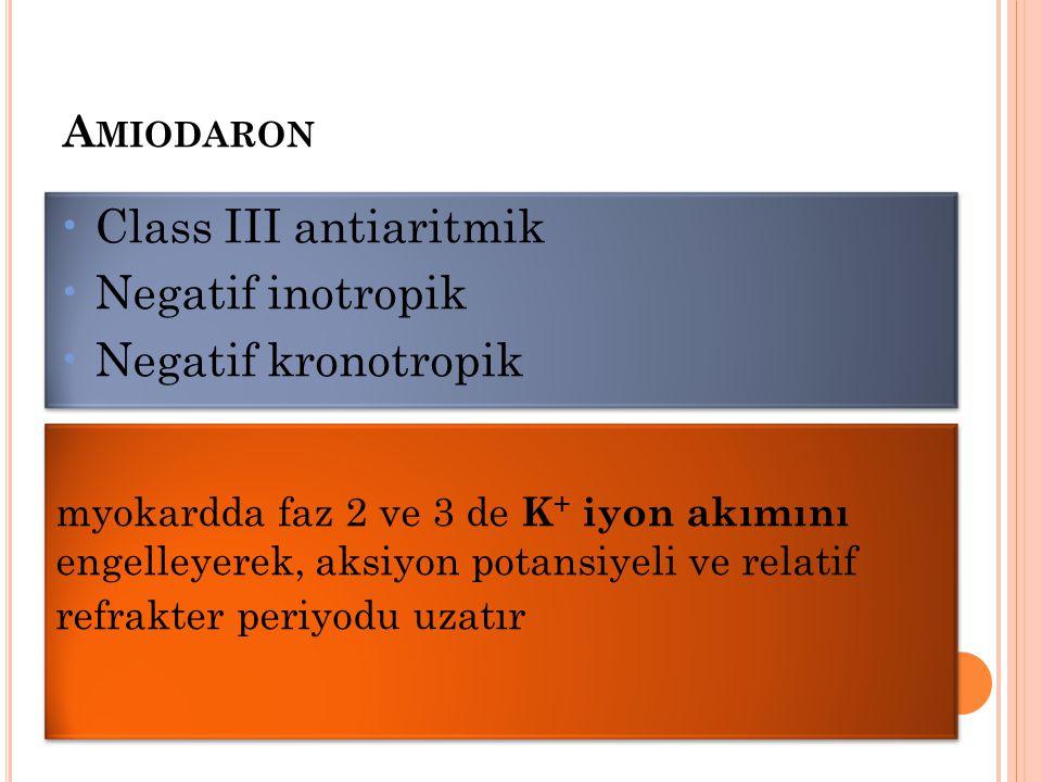 A MIODARON myokardda faz 2 ve 3 de K + iyon akımını engelleyerek, aksiyon potansiyeli ve relatif refrakter periyodu uzatır Class III antiaritmik Negat