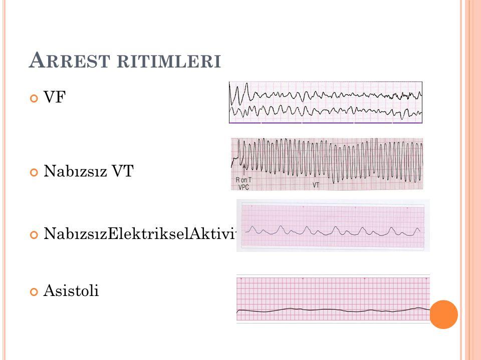 A RREST RITIMLERI VF Nabızsız VT NabızsızElektrikselAktivite Asistoli