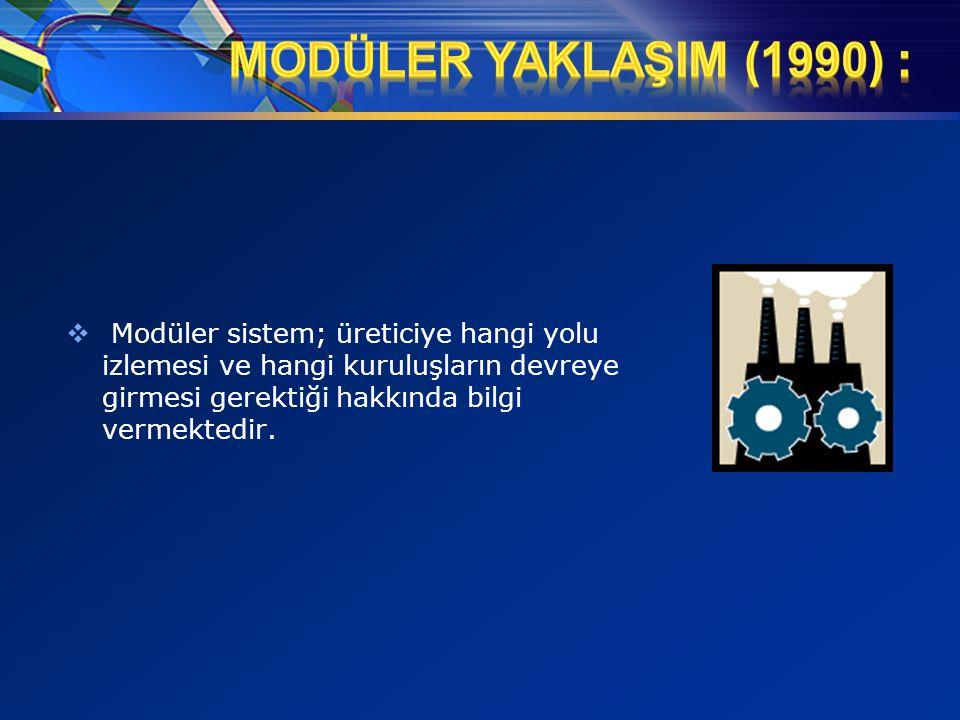  Modüler sistem; üreticiye hangi yolu izlemesi ve hangi kuruluşların devreye girmesi gerektiği hakkında bilgi vermektedir.