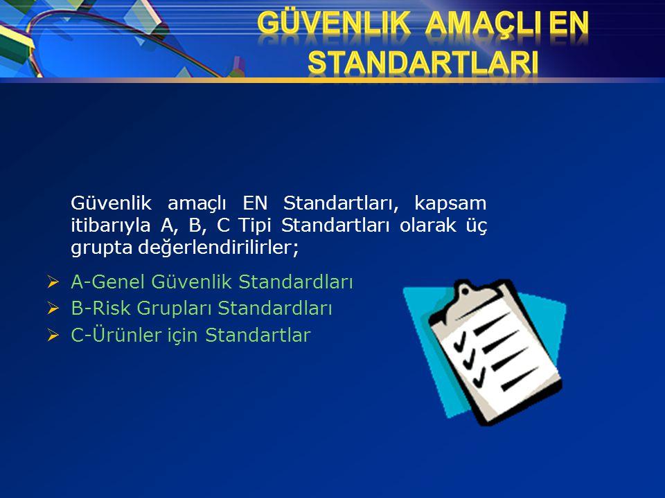 Güvenlik amaçlı EN Standartları, kapsam itibarıyla A, B, C Tipi Standartları olarak üç grupta değerlendirilirler;  A-Genel Güvenlik Standardları  B-