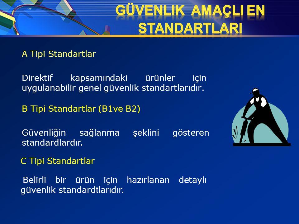 A Tipi Standartlar Direktif kapsamındaki ürünler için uygulanabilir genel güvenlik standartlarıdır. B Tipi Standartlar (B1ve B2) Güvenliğin sağlanma ş