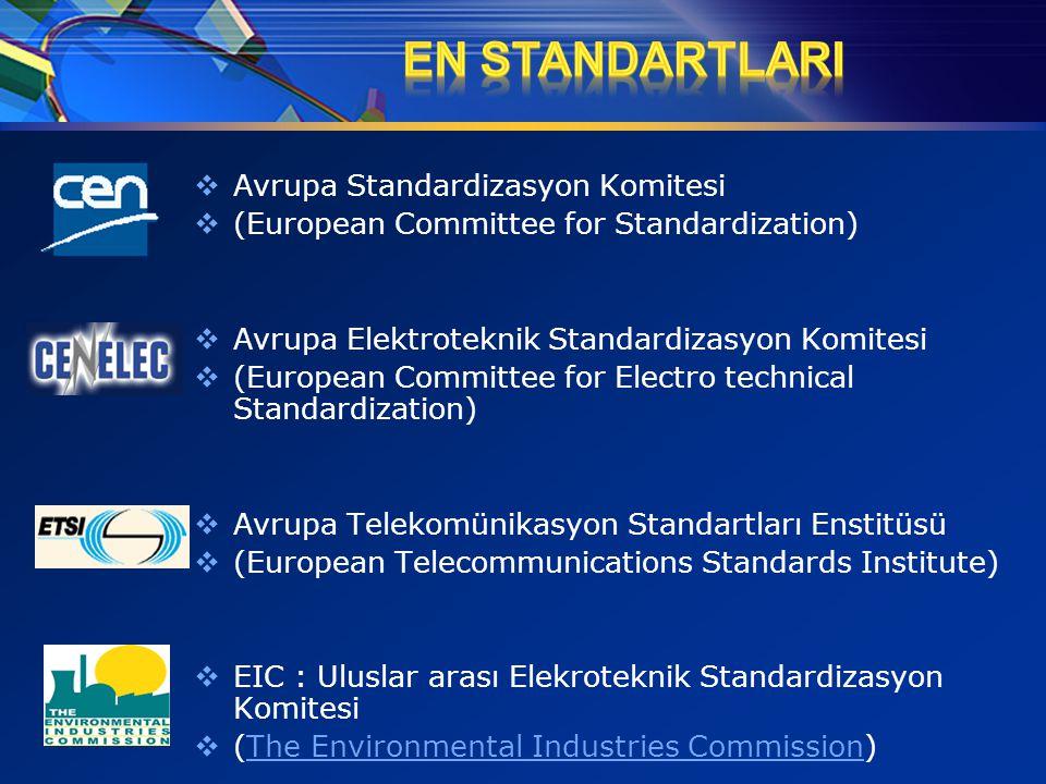  Avrupa Standardizasyon Komitesi  (European Committee for Standardization)  Avrupa Elektroteknik Standardizasyon Komitesi  (European Committee for