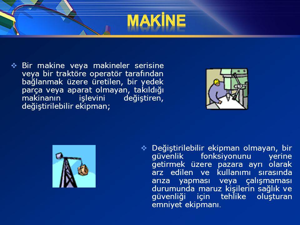  Bir makine veya makin e l e r serisine veya bir traktöre operatör tarafından bağlanmak üzere üretilen, bir yedek parça veya aparat olmayan, takıldığ