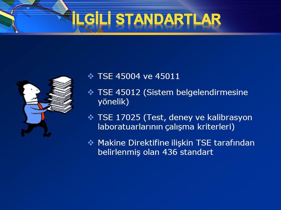  TSE 45004 ve 45011  TSE 45012 (Sistem belgelendirmesine yönelik)  TSE 17025 (Test, deney ve kalibrasyon laboratuarlarının çalışma kriterleri)  Ma
