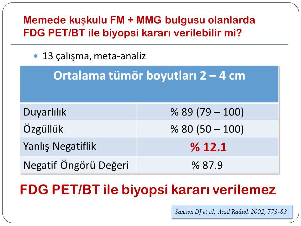 Memede ku ş kulu FM + MMG bulgusu olanlarda FDG PET/BT ile biyopsi kararı verilebilir mi? 13 çalışma, meta-analiz Samson DJ et al, Acad Radiol. 2002,