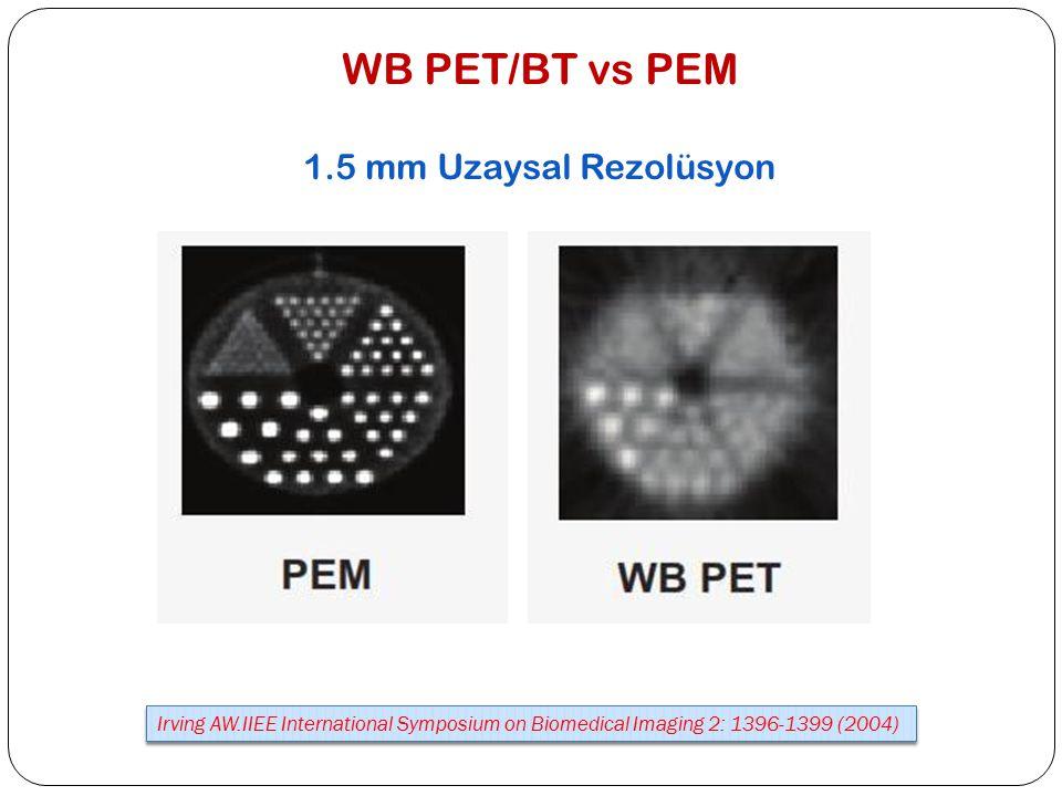 WB PET/BT vs PEM 1.5 mm Uzaysal Rezolüsyon Irving AW.IIEE International Symposium on Biomedical Imaging 2: 1396-1399 (2004)