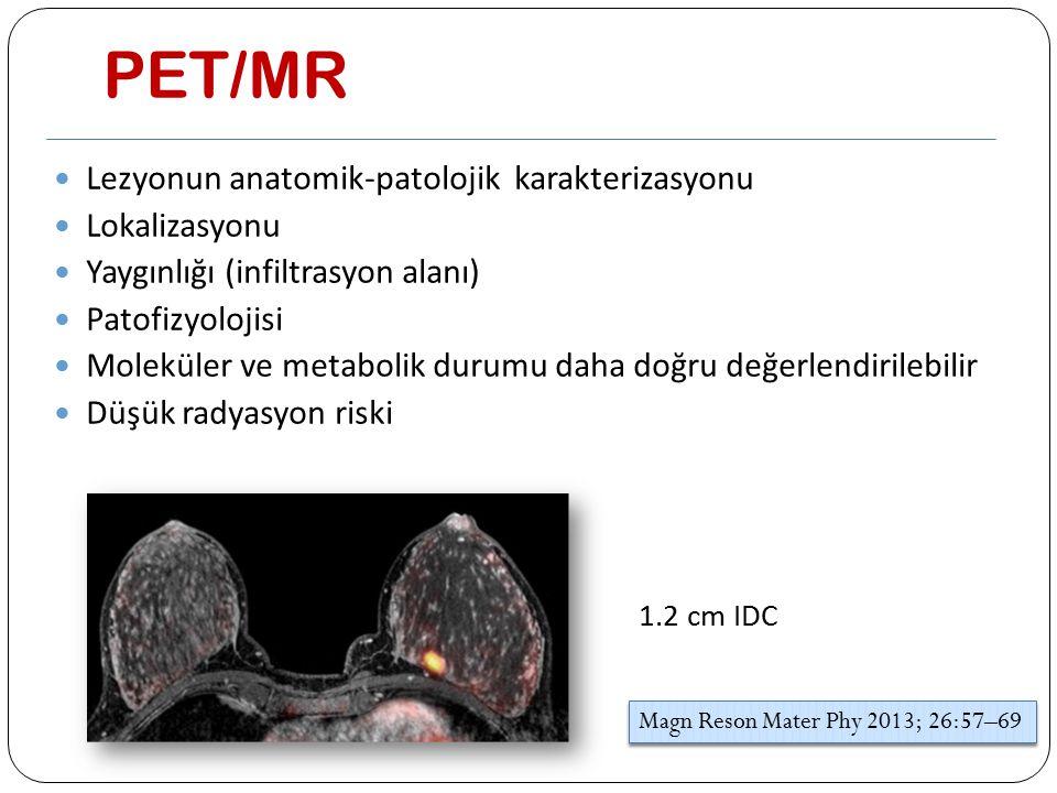 PET/MR Lezyonun anatomik-patolojik karakterizasyonu Lokalizasyonu Yaygınlığı (infiltrasyon alanı) Patofizyolojisi Moleküler ve metabolik durumu daha d
