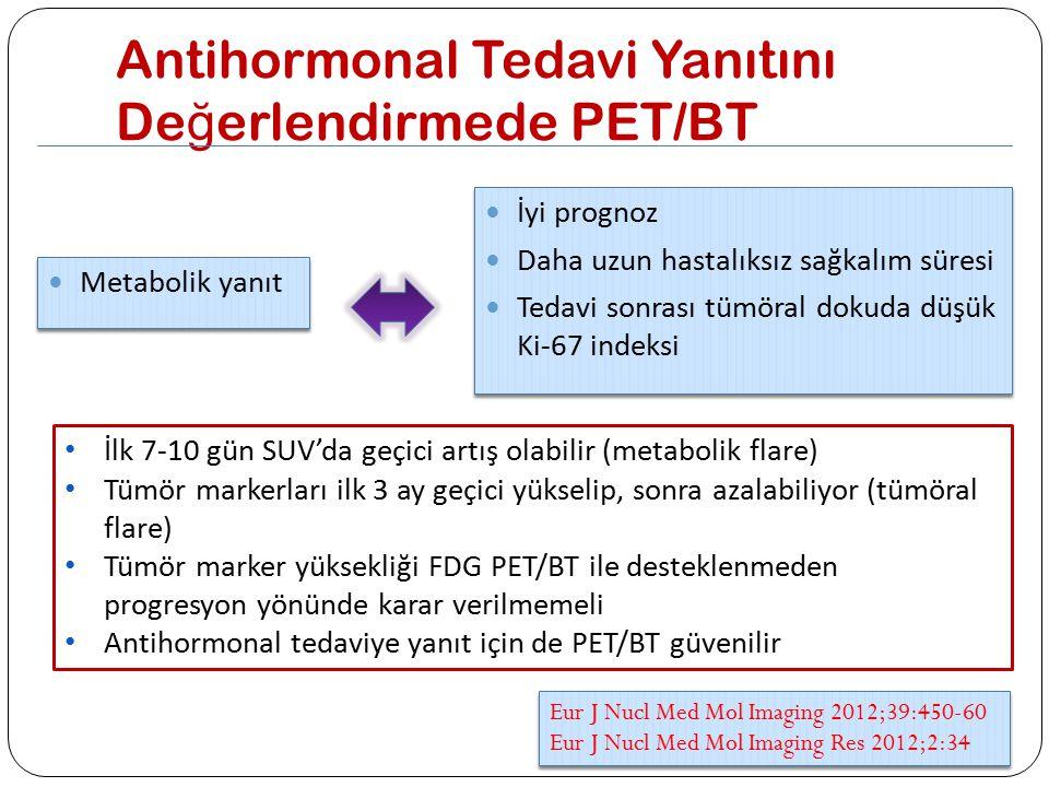 Antihormonal Tedavi Yanıtını De ğ erlendirmede PET/BT Metabolik yanıt İyi prognoz Daha uzun hastalıksız sağkalım süresi Tedavi sonrası tümöral dokuda