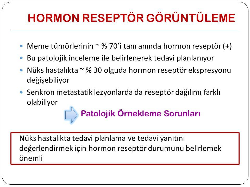 HORMON RESEPTÖR GÖRÜNTÜLEME Meme tümörlerinin ~ % 70'i tanı anında hormon reseptör (+) Bu patolojik inceleme ile belirlenerek tedavi planlanıyor Nüks