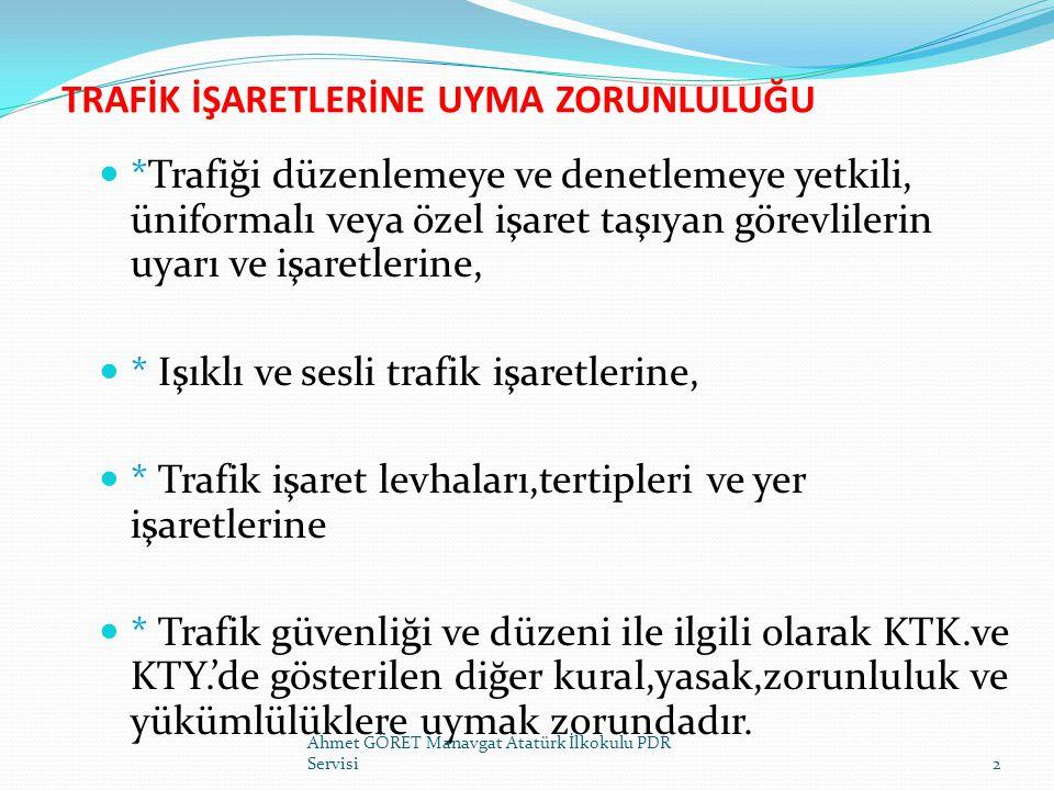 TRAFİK YÖNETİMİ KAVRAMI TRAFİK YÖNETİMİ-I KARAYOLUNUN GÜVENLİ BİR ORTAMDA EN YÜKSEK KAPASİTE İLE YOLU KULLANANA EN AZ MALİYET GETİRECEK ŞEKİLDE KULLANIMININ SAĞLANMASIDIR Ahmet GÖRET Manavgat Atatürk İlkokulu PDR Servisi3 TRAFİK YÖNETİMİ-II BELİRLİ BİR YOL AĞINDA TRAFİK AKIMLARININ YENİDEN DÜZENLENMESİ, KAVŞAKLARDAKİ TRAFİK YÖNETİMLERİ VE OTOPARK YER VE SÜRELERİNE GETİRİLECEK KURALLARLA, DAHA ETKİLİ TRAFİK HAREKETİNİ SAĞLAMAKTIR