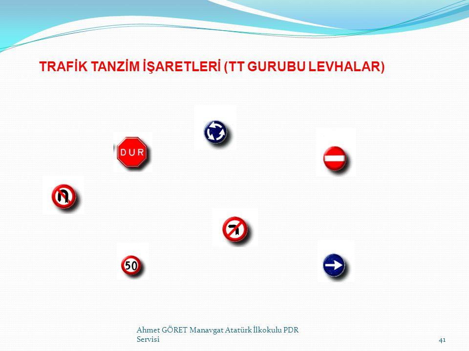 TRAFİK TANZİM İŞARETLERİ (TT GURUBU LEVHALAR) Ahmet GÖRET Manavgat Atatürk İlkokulu PDR Servisi41