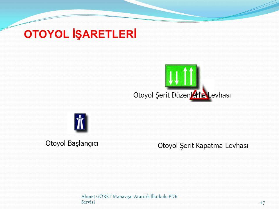 OTOYOL İŞARETLERİ Ahmet GÖRET Manavgat Atatürk İlkokulu PDR Servisi47 Otoyol Başlangıcı Otoyol Şerit Kapatma Levhası Otoyol Şerit Düzenleme Levhası
