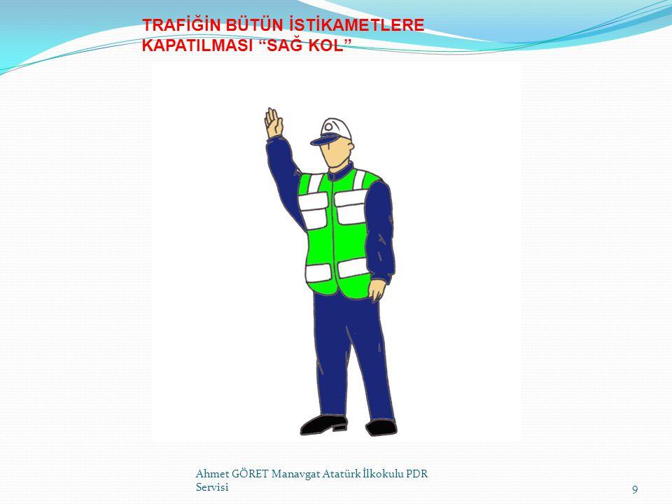 İşaret ve Yön Tayininde Dikkat Edilecek Hususlar * Yolun trafiğe kapanması gerektiği takdirde,genel trafik durumu gözden geçirildikten sonra kavşağa yaklaşmakta olan taşıtların emniyetli bir şekilde durabileceği durma mesafeleri,hava ve yol koşulları da dikkate alınarak belirlendikten sonra,işaret verilerek trafiğin yönü veya geçişine izin verilen yöndeki akıma izin verilecektir.
