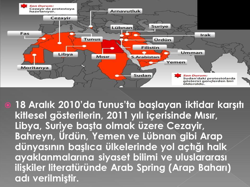  Arap Baharı 2011 yılı içerisinde Tunus, Mısır ve Libya'da (iç savaş sonrasında) iktidar değişikliklerine neden olmuş, şimdilerde de Suriye'de ülkeyi ciddi bir iç savaşın ve olası rejim değişikliğinin eşiğine getirmiştir.