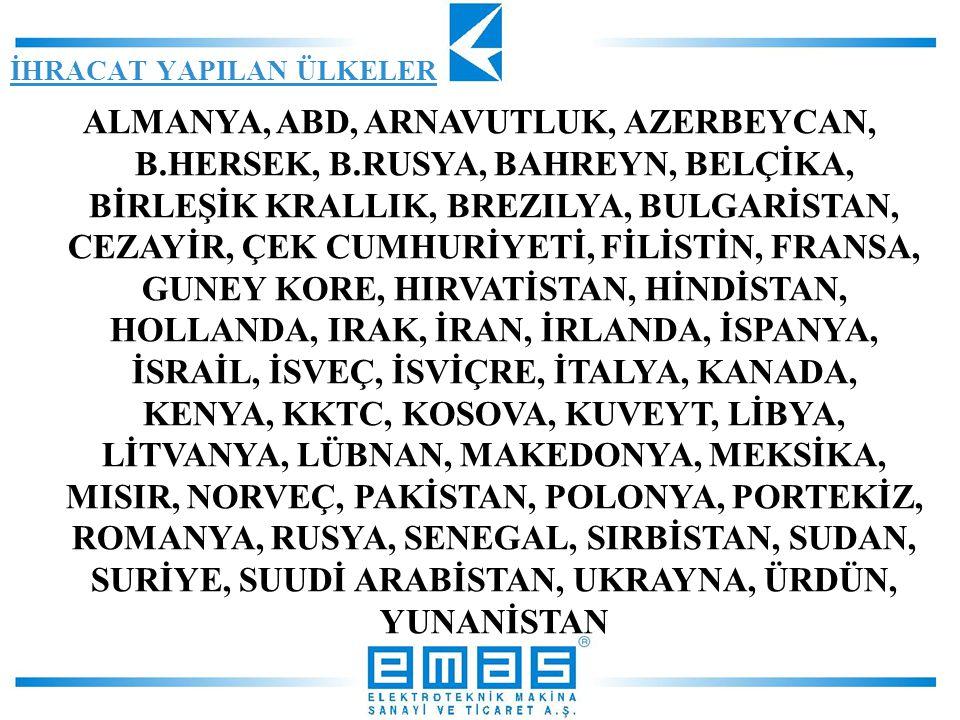 ALMANYA, ABD, ARNAVUTLUK, AZERBEYCAN, B.HERSEK, B.RUSYA, BAHREYN, BELÇİKA, BİRLEŞİK KRALLIK, BREZILYA, BULGARİSTAN, CEZAYİR, ÇEK CUMHURİYETİ, FİLİSTİN, FRANSA, GUNEY KORE, HIRVATİSTAN, HİNDİSTAN, HOLLANDA, IRAK, İRAN, İRLANDA, İSPANYA, İSRAİL, İSVEÇ, İSVİÇRE, İTALYA, KANADA, KENYA, KKTC, KOSOVA, KUVEYT, LİBYA, LİTVANYA, LÜBNAN, MAKEDONYA, MEKSİKA, MISIR, NORVEÇ, PAKİSTAN, POLONYA, PORTEKİZ, ROMANYA, RUSYA, SENEGAL, SIRBİSTAN, SUDAN, SURİYE, SUUDİ ARABİSTAN, UKRAYNA, ÜRDÜN, YUNANİSTAN İHRACAT YAPILAN ÜLKELER