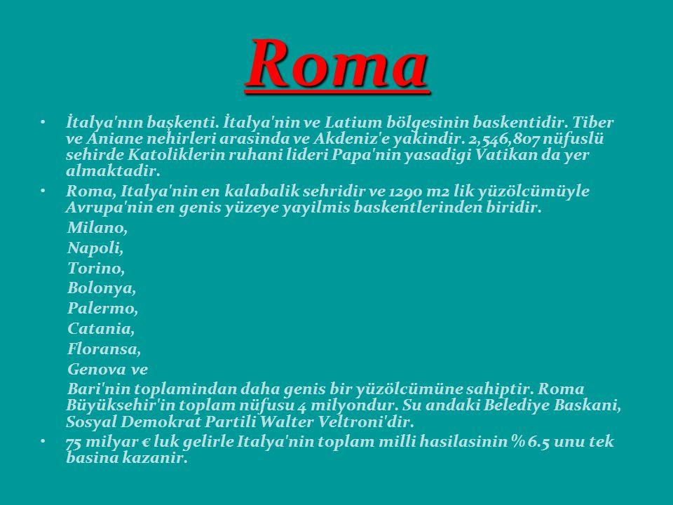 Roma İtalya nın başkenti.İtalya nin ve Latium bölgesinin baskentidir.