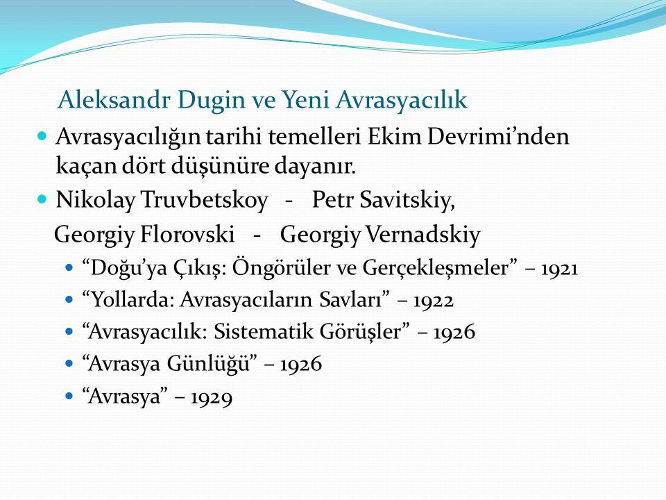 . Aleksandr Dugin ve Yeni Avrasyacılık Avrasyacılığın tarihi temelleri Ekim Devrimi'nden kaçan dört düşünüre dayanır. Nikolay Truvbetskoy - Petr Savit