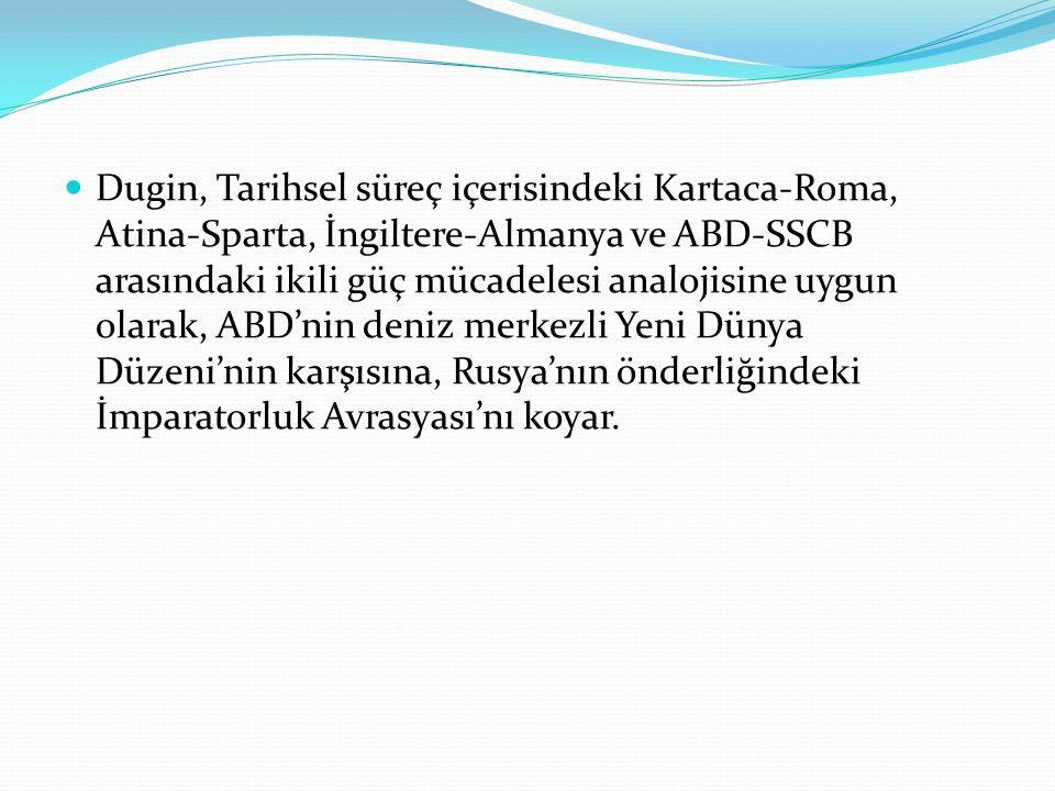 . Dugin, Tarihsel süreç içerisindeki Kartaca-Roma, Atina-Sparta, İngiltere-Almanya ve ABD-SSCB arasındaki ikili güç mücadelesi analojisine uygun olara