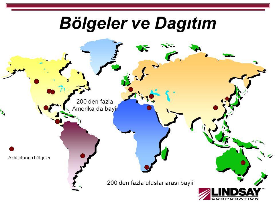 Bölgeler ve Dagıtım 200 den fazla Amerika da bayii 200 den fazla uluslar arası bayii Aktif olunan bölgeler