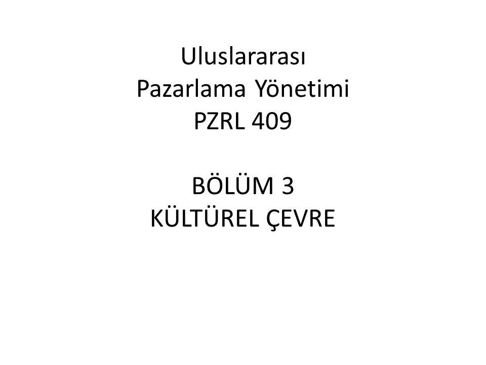 Uluslararası Pazarlama Yönetimi PZRL 409 BÖLÜM 3 KÜLTÜREL ÇEVRE