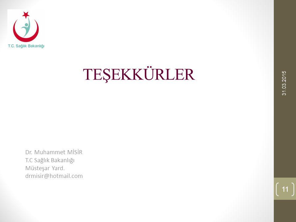 TEŞEKKÜRLER 31.03.2015 11 Dr. Muhammet MİSİR T.C Sağlık Bakanlığı Müsteşar Yard. drmisir@hotmail.com