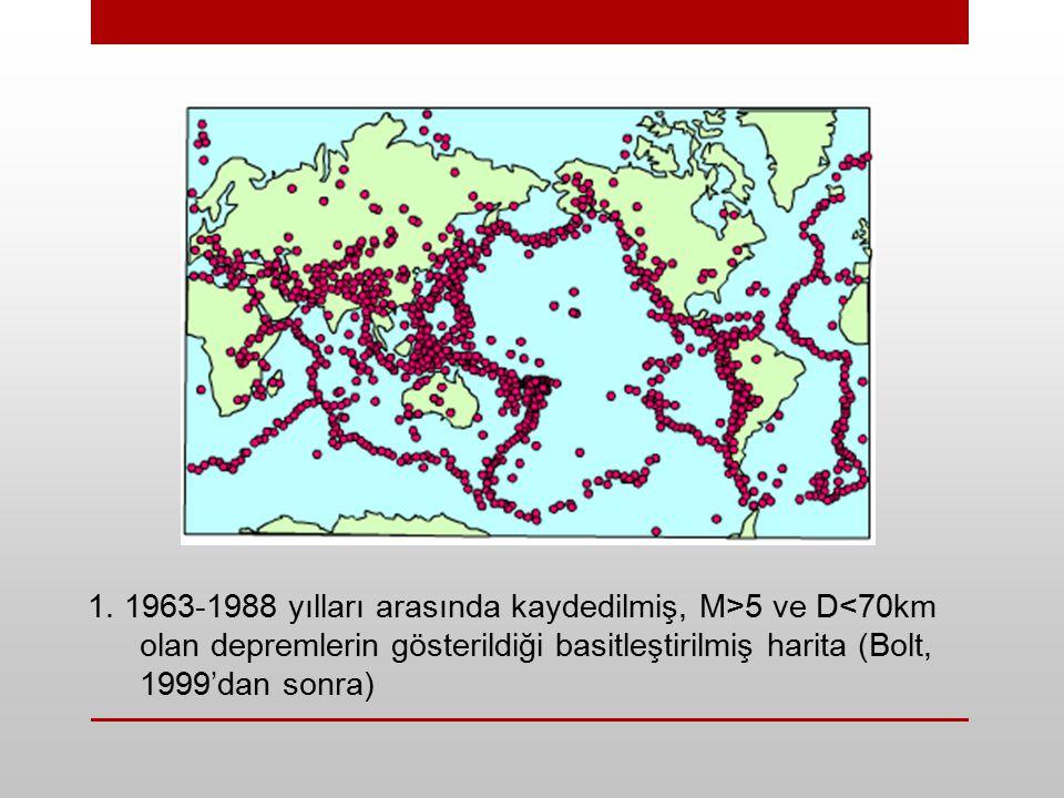 1. 1963-1988 yılları arasında kaydedilmiş, M>5 ve D<70km olan depremlerin gösterildiği basitleştirilmiş harita (Bolt, 1999'dan sonra)
