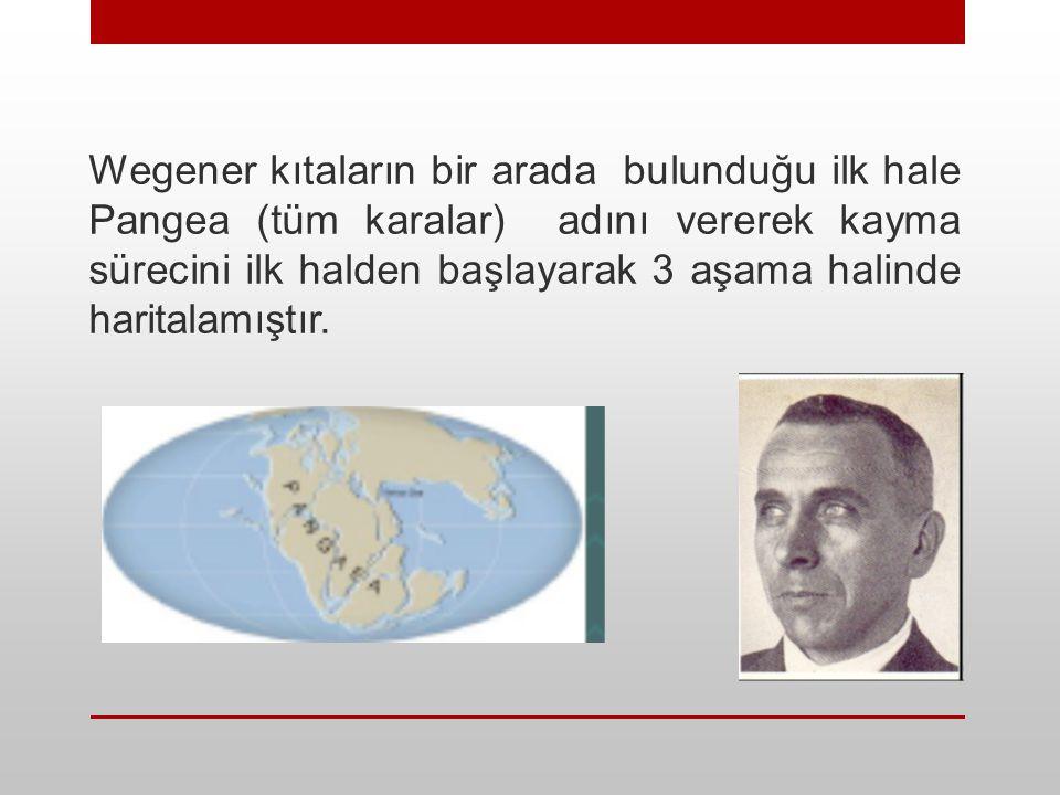 Wegener kıtaların bir arada bulunduğu ilk hale Pangea (tüm karalar) adını vererek kayma sürecini ilk halden başlayarak 3 aşama halinde haritalamıştır.