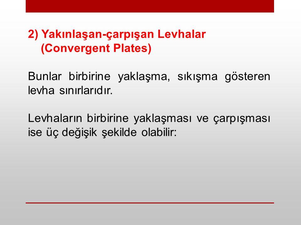 2) Yakınlaşan-çarpışan Levhalar (Convergent Plates) Bunlar birbirine yaklaşma, sıkışma gösteren levha sınırlarıdır. Levhaların birbirine yaklaşması ve