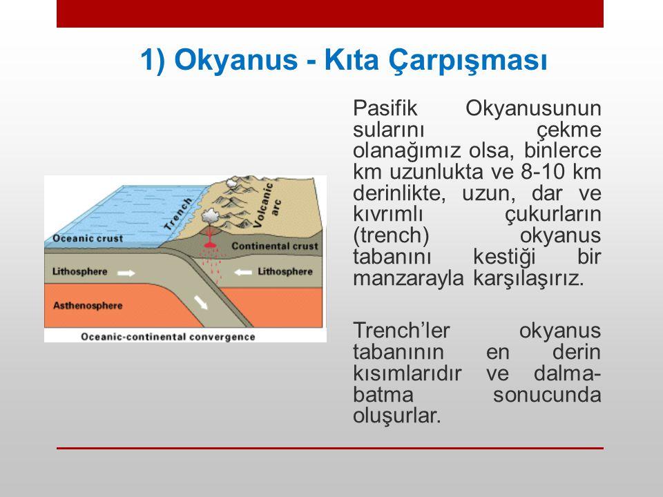 1) Okyanus - Kıta Çarpışması Pasifik Okyanusunun sularını çekme olanağımız olsa, binlerce km uzunlukta ve 8-10 km derinlikte, uzun, dar ve kıvrımlı çu