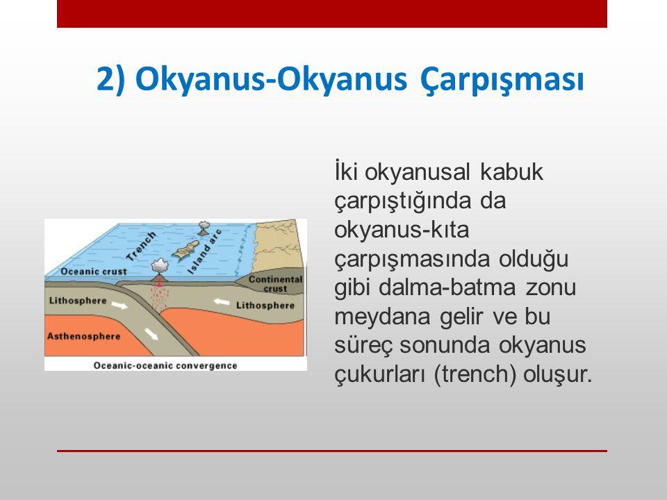 2) Okyanus-Okyanus Çarpışması İki okyanusal kabuk çarpıştığında da okyanus-kıta çarpışmasında olduğu gibi dalma-batma zonu meydana gelir ve bu süreç s