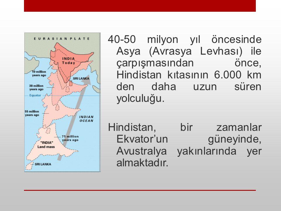 40-50 milyon yıl öncesinde Asya (Avrasya Levhası) ile çarpışmasından önce, Hindistan kıtasının 6.000 km den daha uzun süren yolculuğu. Hindistan, bir