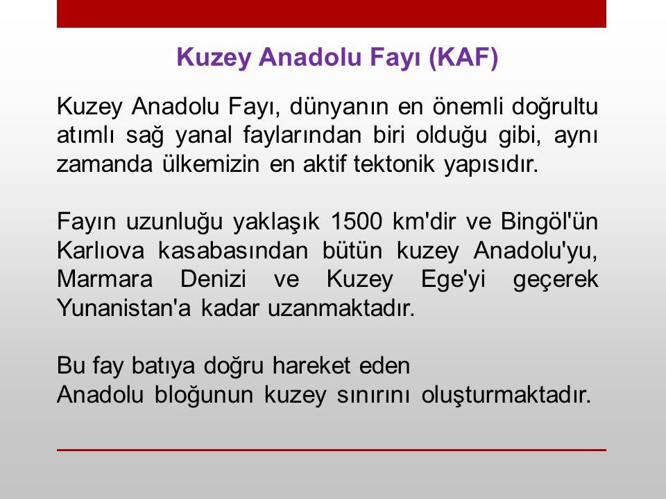 Kuzey Anadolu Fayı (KAF) Kuzey Anadolu Fayı, dünyanın en önemli doğrultu atımlı sağ yanal faylarından biri olduğu gibi, aynı zamanda ülkemizin en akti
