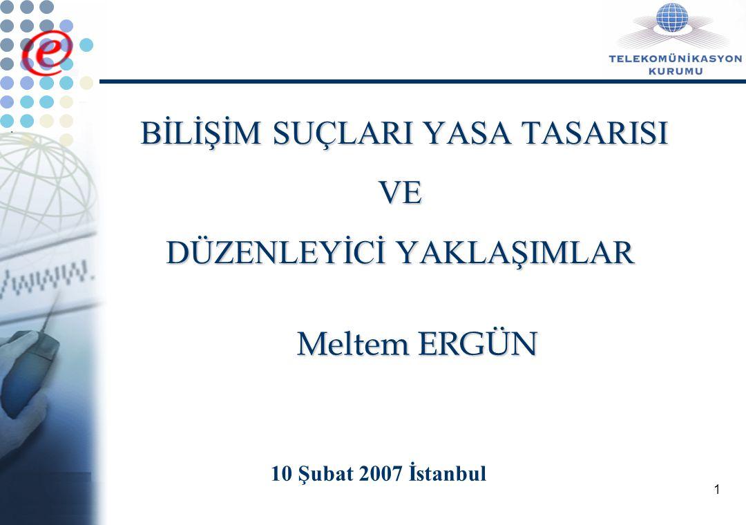1 BİLİŞİM SUÇLARI YASA TASARISI VE DÜZENLEYİCİ YAKLAŞIMLAR 10 Şubat 2007 İstanbul Meltem ERGÜN