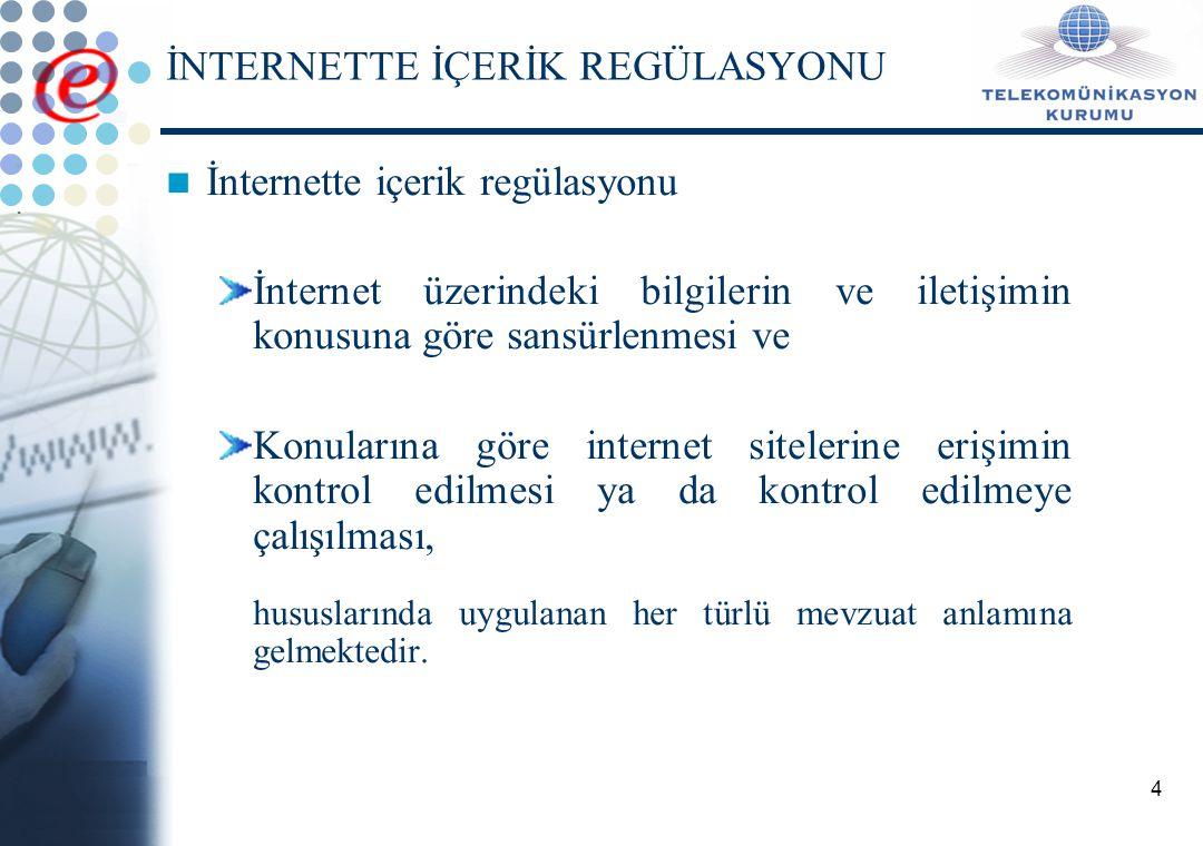 4 İNTERNETTE İÇERİK REGÜLASYONU İnternette içerik regülasyonu İnternet üzerindeki bilgilerin ve iletişimin konusuna göre sansürlenmesi ve Konularına göre internet sitelerine erişimin kontrol edilmesi ya da kontrol edilmeye çalışılması, hususlarında uygulanan her türlü mevzuat anlamına gelmektedir.
