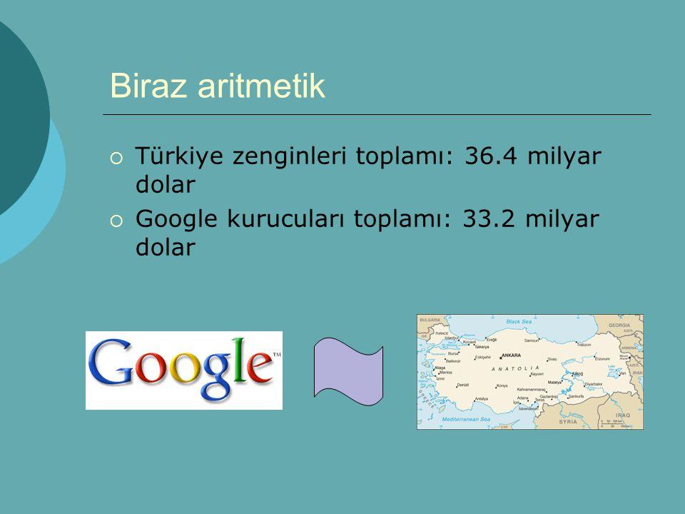 Biraz aritmetik  Türkiye zenginleri toplamı: 36.4 milyar dolar  Google kurucuları toplamı: 33.2 milyar dolar