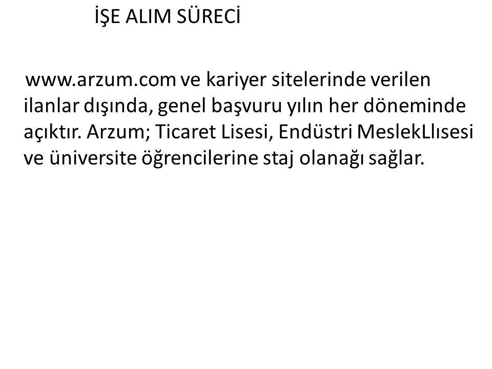 İŞE ALIM SÜRECİ www.arzum.com ve kariyer sitelerinde verilen ilanlar dışında, genel başvuru yılın her döneminde açıktır. Arzum; Ticaret Lisesi, Endüst