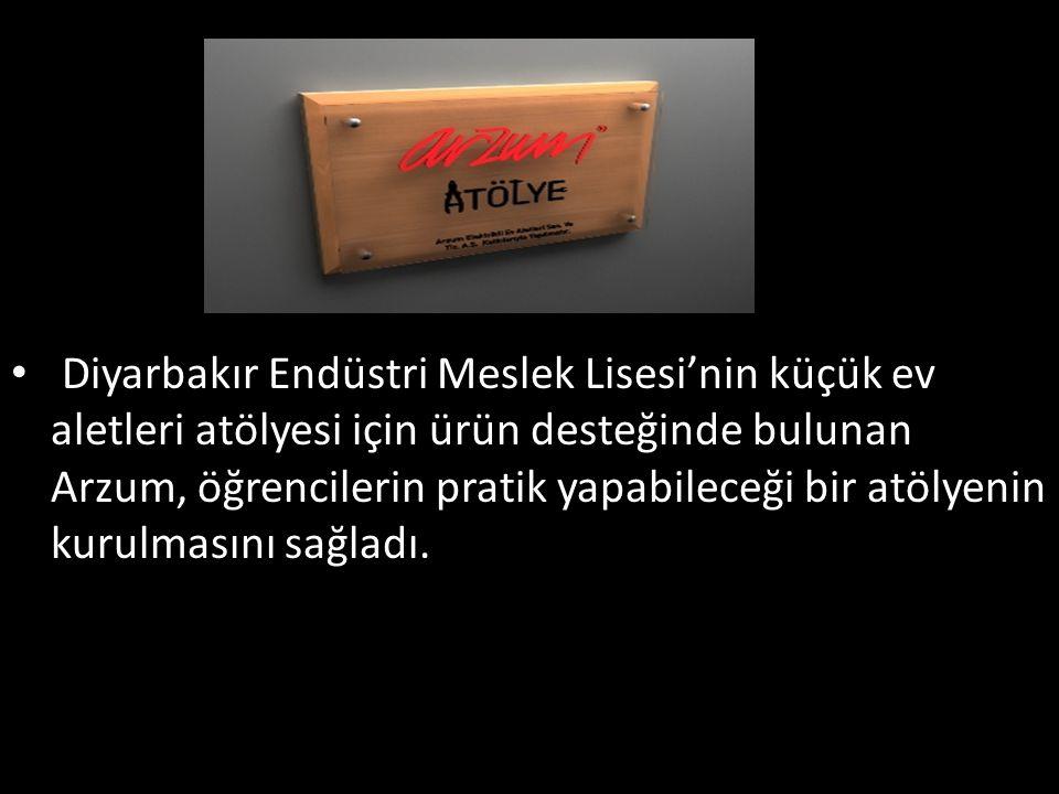 Diyarbakır Endüstri Meslek Lisesi'nin küçük ev aletleri atölyesi için ürün desteğinde bulunan Arzum, öğrencilerin pratik yapabileceği bir atölyenin ku