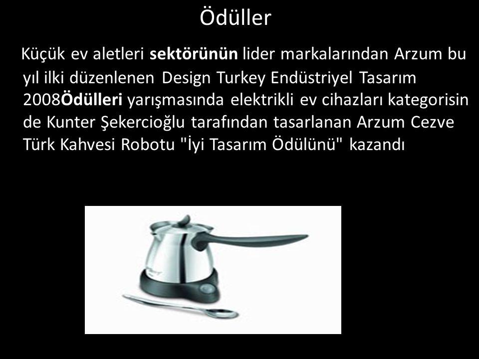 Ödüller Küçük ev aletleri sektörünün lider markalarından Arzum bu yıl ilki düzenlenen Design Turkey Endüstriyel Tasarım 2008Ödülleri yarışmasında elek